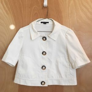 Theory white collared cropped button linen jacket